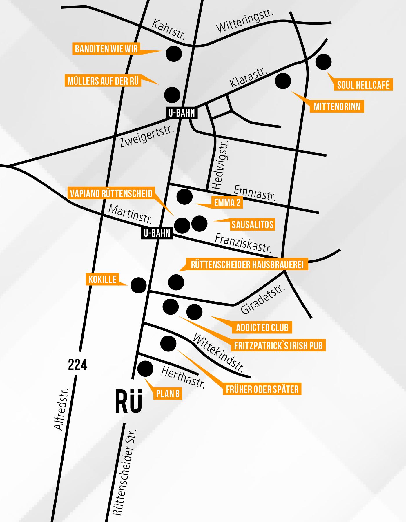 Straßenplan für die RÜ Musiknacht